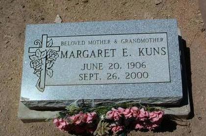 KUNS, MARGARET E. - Yavapai County, Arizona   MARGARET E. KUNS - Arizona Gravestone Photos