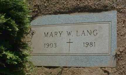 LANG, MARY W. - Yavapai County, Arizona   MARY W. LANG - Arizona Gravestone Photos
