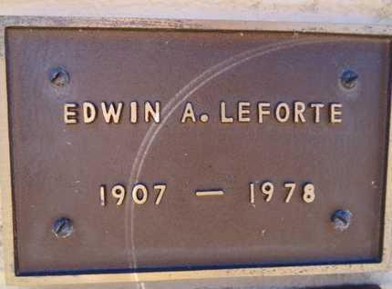 LEFORTE, EDWIN ARTHUR - Yavapai County, Arizona   EDWIN ARTHUR LEFORTE - Arizona Gravestone Photos