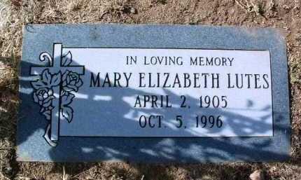LUTES, MARY ELIZABETH - Yavapai County, Arizona   MARY ELIZABETH LUTES - Arizona Gravestone Photos