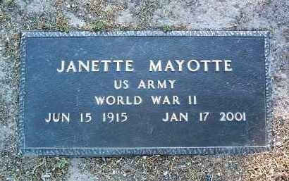 MAYOTTE, JANETTE - Yavapai County, Arizona | JANETTE MAYOTTE - Arizona Gravestone Photos