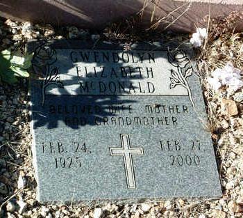 MCDONALD, GWENDOLYN E. - Yavapai County, Arizona   GWENDOLYN E. MCDONALD - Arizona Gravestone Photos