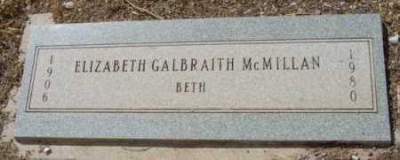 GALBRAITH MCMILLAN, ELIZABETH (BETH) - Yavapai County, Arizona | ELIZABETH (BETH) GALBRAITH MCMILLAN - Arizona Gravestone Photos