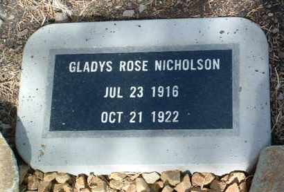 NICHOLSON, GLADYS ROSE - Yavapai County, Arizona | GLADYS ROSE NICHOLSON - Arizona Gravestone Photos