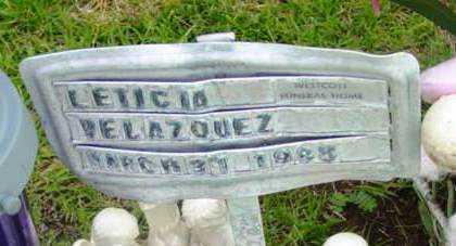 VELAZOUEZ, LETICIA - Yavapai County, Arizona | LETICIA VELAZOUEZ - Arizona Gravestone Photos