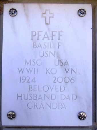 PFAFF, BASIL FRANKLIN - Yavapai County, Arizona | BASIL FRANKLIN PFAFF - Arizona Gravestone Photos