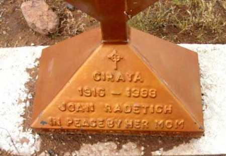 RADETICH, JOAN - Yavapai County, Arizona | JOAN RADETICH - Arizona Gravestone Photos