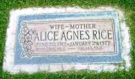 RICE, ALICE AGNES - Yavapai County, Arizona | ALICE AGNES RICE - Arizona Gravestone Photos