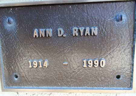 RYAN, ANN D. - Yavapai County, Arizona | ANN D. RYAN - Arizona Gravestone Photos