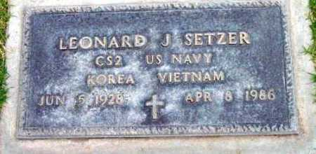 SETZER, LEONARD J. - Yavapai County, Arizona | LEONARD J. SETZER - Arizona Gravestone Photos