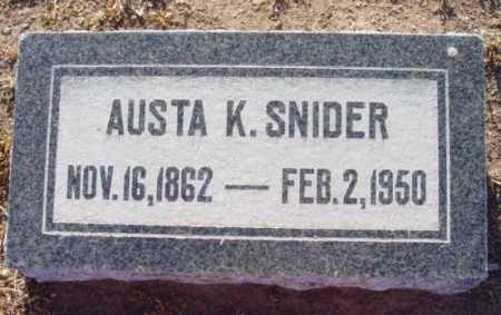 SNIDER, AUSTA K. - Yavapai County, Arizona   AUSTA K. SNIDER - Arizona Gravestone Photos