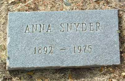 SNYDER, ANNA - Yavapai County, Arizona | ANNA SNYDER - Arizona Gravestone Photos