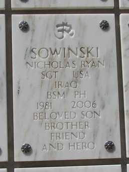 SOWINSKI, NICHOLAS RYAN - Yavapai County, Arizona   NICHOLAS RYAN SOWINSKI - Arizona Gravestone Photos