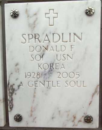 SPRADLIN, DONALD F. - Yavapai County, Arizona   DONALD F. SPRADLIN - Arizona Gravestone Photos