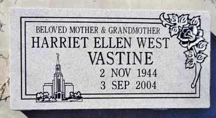 WEST VASTINE, HARRIET ELLEN - Yavapai County, Arizona | HARRIET ELLEN WEST VASTINE - Arizona Gravestone Photos