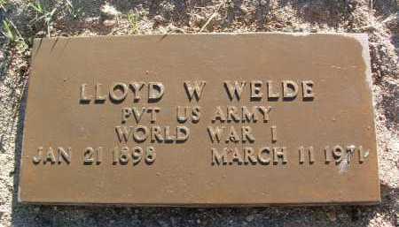 WELDE, LLOYD W - Yavapai County, Arizona   LLOYD W WELDE - Arizona Gravestone Photos
