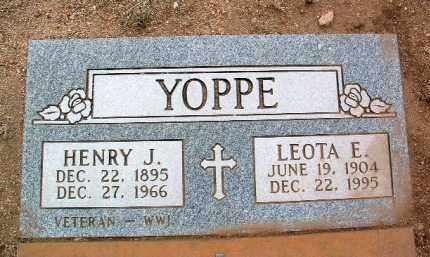 YOPPE, HENRY JOHN - Yavapai County, Arizona   HENRY JOHN YOPPE - Arizona Gravestone Photos
