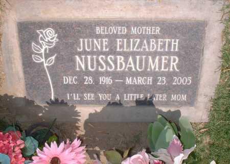 NUSSBAUMER, JUNE ELIZABETH - Yuma County, Arizona | JUNE ELIZABETH NUSSBAUMER - Arizona Gravestone Photos