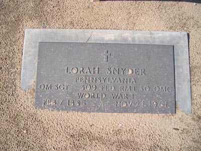 SNYDER, LORAH - Yuma County, Arizona | LORAH SNYDER - Arizona Gravestone Photos