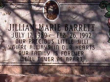 BARRETT, JILLIAN MARIE - Pima County, Arizona   JILLIAN MARIE BARRETT - Arizona Gravestone Photos