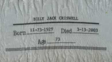 CRISWELL, BILLY JACK - Pima County, Arizona | BILLY JACK CRISWELL - Arizona Gravestone Photos