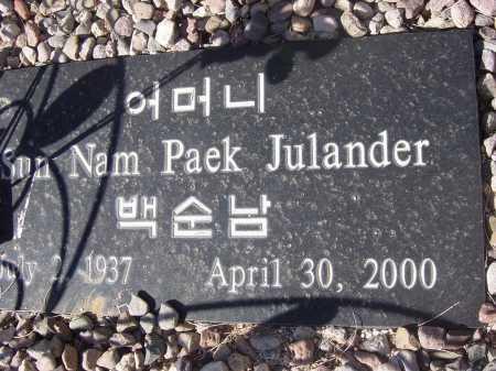 JULANDER, SUN NAM PAEK - Pima County, Arizona | SUN NAM PAEK JULANDER - Arizona Gravestone Photos