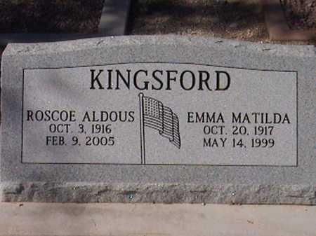 KINGSFORD, EMMA MATILDA - Pima County, Arizona   EMMA MATILDA KINGSFORD - Arizona Gravestone Photos