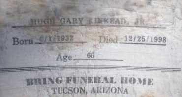 KINKEAD, HUGH GARY, JR. - Pima County, Arizona | HUGH GARY, JR. KINKEAD - Arizona Gravestone Photos