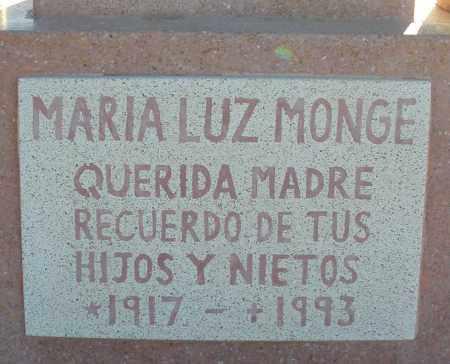 MONGE, MARIA LUZ - Pima County, Arizona   MARIA LUZ MONGE - Arizona Gravestone Photos