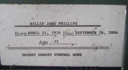 PHILLIPS, BILLIE JANE - Pima County, Arizona   BILLIE JANE PHILLIPS - Arizona Gravestone Photos