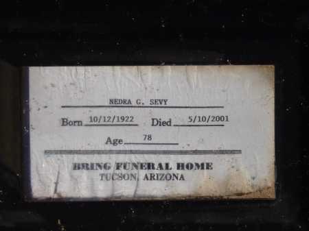 SEVY, NEDRA G. - Pima County, Arizona | NEDRA G. SEVY - Arizona Gravestone Photos