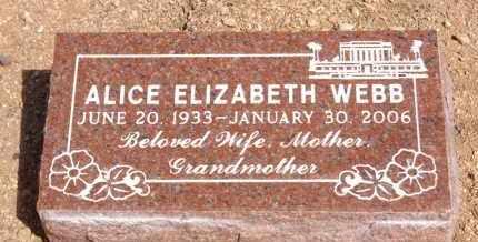 WEBB, ALICE ELIZABETH - Pima County, Arizona | ALICE ELIZABETH WEBB - Arizona Gravestone Photos