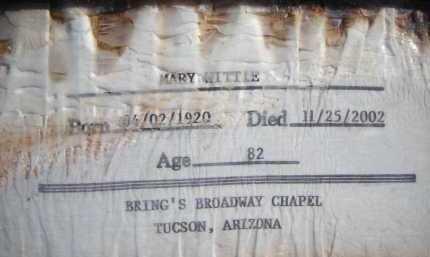 WITTLE, MARY - Pima County, Arizona   MARY WITTLE - Arizona Gravestone Photos