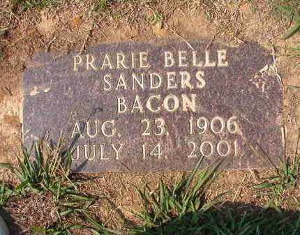 SANDERS BACON, PRARIE BELLE - Columbia County, Arkansas | PRARIE BELLE SANDERS BACON - Arkansas Gravestone Photos