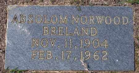 BRELAND, ABSOLOM NORWOOD - Columbia County, Arkansas | ABSOLOM NORWOOD BRELAND - Arkansas Gravestone Photos