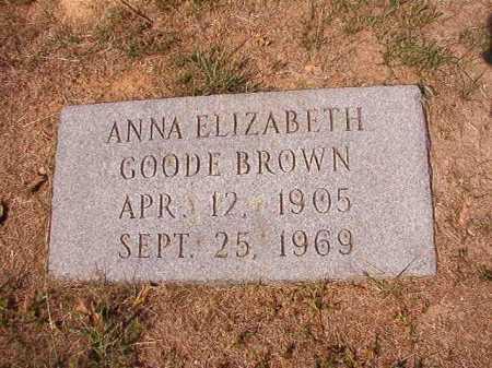 GOODE BROWN, ANNA ELIZABETH - Columbia County, Arkansas   ANNA ELIZABETH GOODE BROWN - Arkansas Gravestone Photos