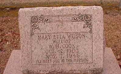 COOK, MARY ETTA - Columbia County, Arkansas | MARY ETTA COOK - Arkansas Gravestone Photos