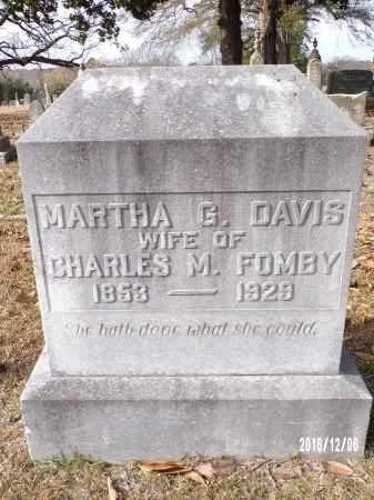 DAVIS FOMBY, MARTHA G. - Columbia County, Arkansas | MARTHA G. DAVIS FOMBY - Arkansas Gravestone Photos