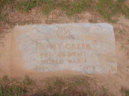 GREER (VETERAN WWI), HENRY - Columbia County, Arkansas   HENRY GREER (VETERAN WWI) - Arkansas Gravestone Photos