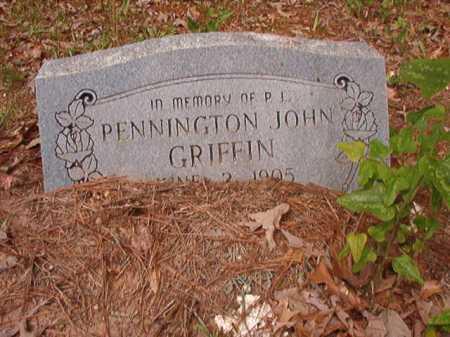 GRIFFIN, PENNINGTON JOHN - Columbia County, Arkansas   PENNINGTON JOHN GRIFFIN - Arkansas Gravestone Photos