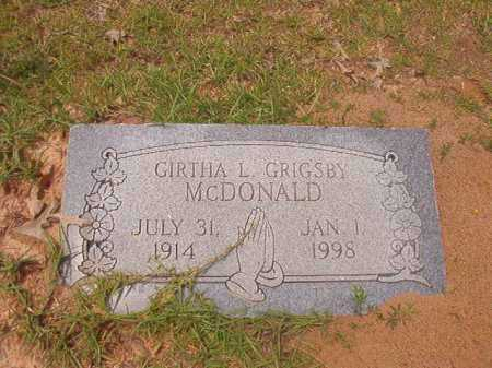 GRIGSBY MCDONALD, GIRTHA L - Columbia County, Arkansas | GIRTHA L GRIGSBY MCDONALD - Arkansas Gravestone Photos