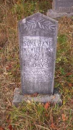 "MCWILLIAMS, SARAH JANE ""SONA"" - Columbia County, Arkansas 