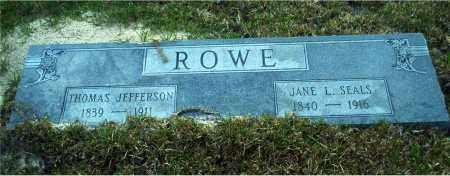 SEALS ROWE, JANE L. - Columbia County, Arkansas | JANE L. SEALS ROWE - Arkansas Gravestone Photos
