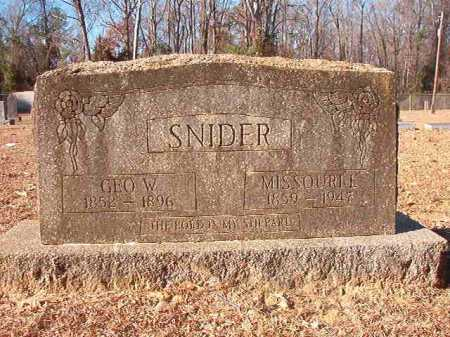 SNIDER, MISSOURI E - Columbia County, Arkansas   MISSOURI E SNIDER - Arkansas Gravestone Photos