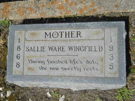 WINGFIELD, SALLIE - Columbia County, Arkansas | SALLIE WINGFIELD - Arkansas Gravestone Photos