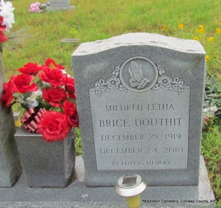 BRICE, MILDRED LETHA (CLOSE UP) - Conway County, Arkansas | MILDRED LETHA (CLOSE UP) BRICE - Arkansas Gravestone Photos