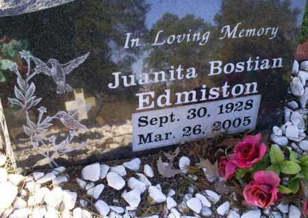 BOSTIAN EDMISTON, JUANITA - Conway County, Arkansas | JUANITA BOSTIAN EDMISTON - Arkansas Gravestone Photos