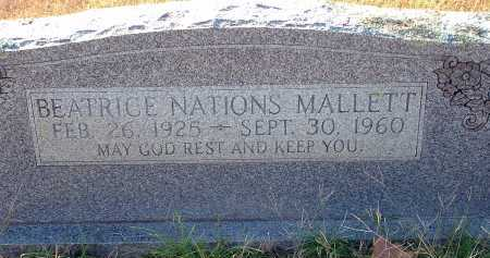 NATIONS MALLETT, BEATRICE - Conway County, Arkansas   BEATRICE NATIONS MALLETT - Arkansas Gravestone Photos