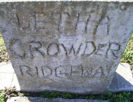 CROWDER RIGDEWAY, LETHA - Conway County, Arkansas | LETHA CROWDER RIGDEWAY - Arkansas Gravestone Photos