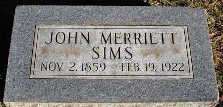 SIMS, JOHN MERRIETT - Conway County, Arkansas | JOHN MERRIETT SIMS - Arkansas Gravestone Photos